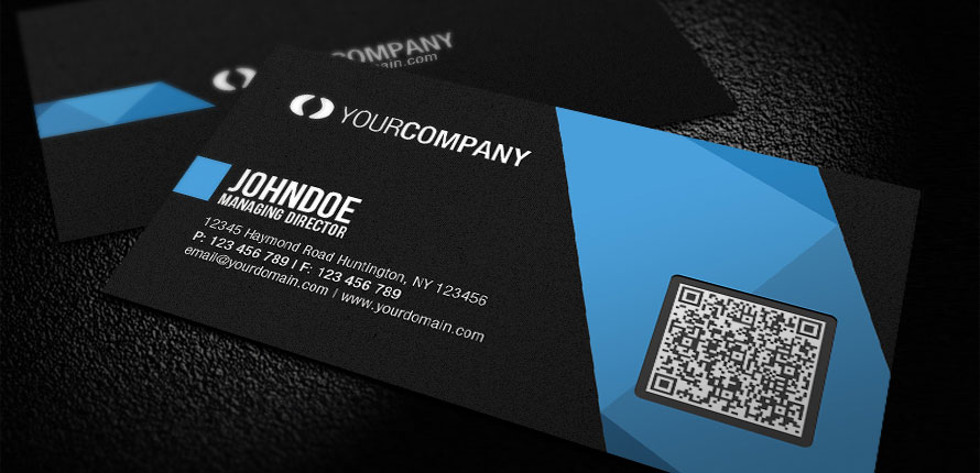 Tips on creating unique business cards to boost your business black and blue business card with qr code reheart Choice Image